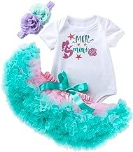 Newborn Infant Baby Girls Bodysuit Outfit Mermaid Romper Tutu Dress Party Costume Headband Set