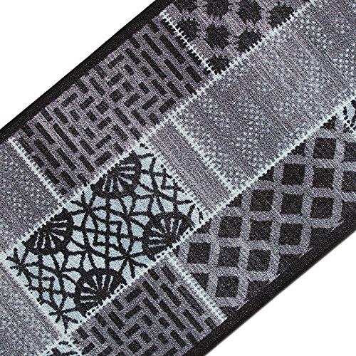 casa pura Teppichläufer mit modernem Muster in brillianten Farben | hochwertige Meterware, gekettelt | Kurzflor Teppich Läufer | Küchenläufer, Flurläufer (80x200 cm)