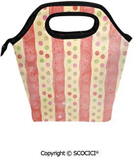 Insulation portable lunch box bag Retro Stripes and Dots in Watercolor Featured Effects Nostalgic Pattern Soft Fabric lunch bag Mummy bag.