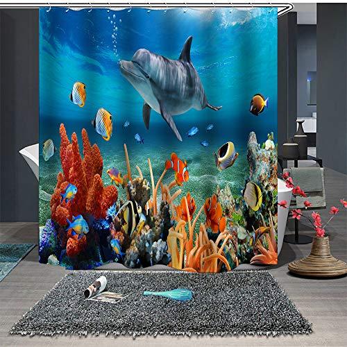 Chickwin Duschvorhang Anti-Schimmel und Wasserdicht, 3D Ozean Blau Delphin Duschvorhang mit 12 Duschvorhangringe für Badezimmer (150x180cm,Korallenriff)