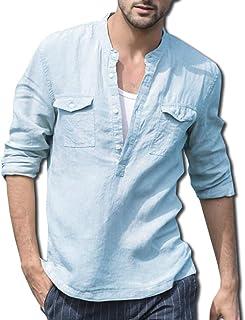 [ボルソ] リネン ヘンリーネック 綿麻 カジュアル シャツ メンズ (ブラック、ホワイト、ブルー、ベージュ) M ~ XXL