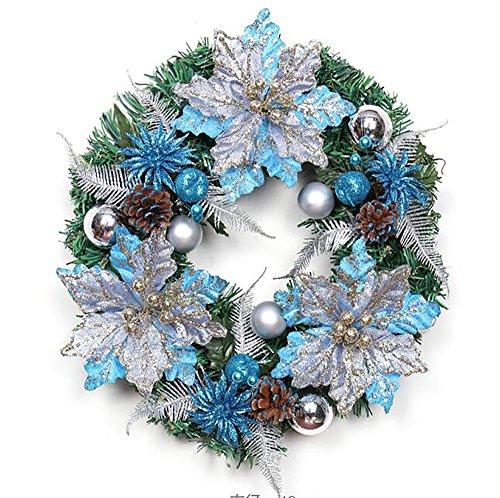 GYH Guirlande de Noël - Décoration de Noël 40cm Or Bleu Coupe Décoration Guirlande de Noël Guirlande Décoration de Noël /&