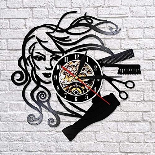 Reloj de Pared Peinado Salón de Belleza Disco de Vinilo Reloj de Pared Peluquería Salón Peluquería Vintage Reloj de Pared Vintage Peluquería Regalos para Mujeres 30 × 30Cm