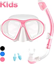 Supertrip Kids Snorkel Set-Scuba Dry Top Diving Mask Anti-Leak Impact Resistant Panoramic Tempered Glass Easybreath Snorkeling Packages Professional Swimming Gear for Youth Boys and Girls