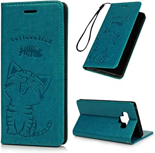 Galaxy Note 9 Case, Wallet Flip Folio Case Magnetic Smart Closure Kickstand Card Slots Embossed Cute Cat Fish PU Leather Wallet Shockproof Soft TPU Bumper Slim Wallet Case for Samsung Galaxy Note 9