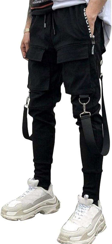 Men's Punk Cargo Pants Hip Hop Multi-Pocket Pencil Pants Casual Streetwear Tactical Track Pants with Drawstring