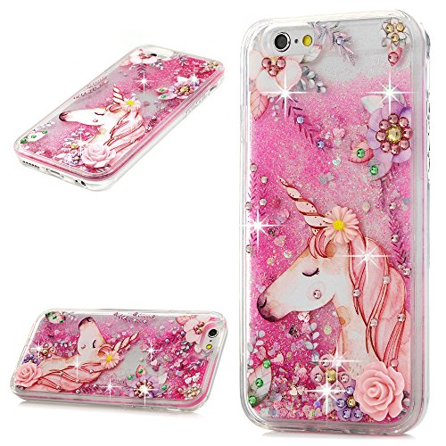 iPhone 6S Case, iPhone 6 Liquid Glitter Case Bling Shiny Sparkle Flowing Moving Love Hearts Cover Clear Ultral Slim Protective TPU Bumper Shockproof Drop Resistant Case for iPhone 6/6S KASOS