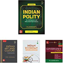 Indian Polity 6E + Indian Art and Culture + Indian Economy 11E + Governance In India (Set of 4 Books)