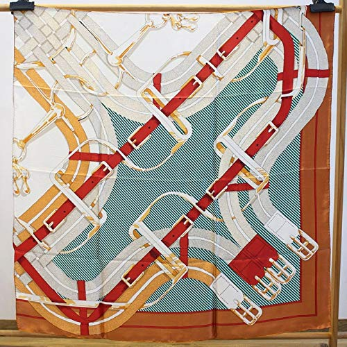 K-ONE Bufanda Cuadrada 110Cm Bufanda Grande Mantón De Seda para Mujer Poncho con Bordes Cosidos A Mano Bufandas