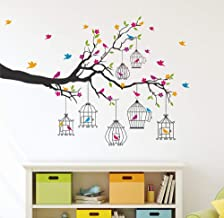 Amazon Brand - Solimo Wall Sticker for Living Room (Birdie House, Ideal Size on Wall - 133 cm x 90 cm)