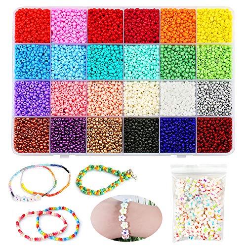 Cuentas de Colores 3mm Mini Cuentas y Abalorios Cristal para DIY Pulseras Collares Bisutería,Mini Regalo Cadena Cadena de Cuentas de Fabricación de Juego (24 Colores)