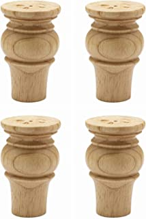 WEICHUAN Solid Wood Furniture Legs Bun Feet Replacement Sofa Couch Chair Ottoman Loveseat Coffee Table Cabinet TV Stand Dresser Wood Legs Set of 4 (4