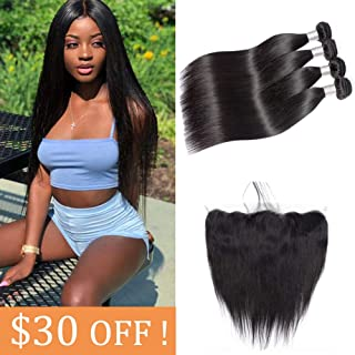 Douyin Brazilian Straight Bundles with Lace Frontal (22 24 26 28 + 20) 13X4 Human Hair With Baby Hair Unprocessed Brazilian Virgin Remy Hair Straight Weave Weft Bundles with Lace Front Natural Color