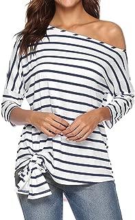 Jojckmen Women Oblique Neck Stripe Shirt Girl Loose Three Quarter Bat Sleeve Top