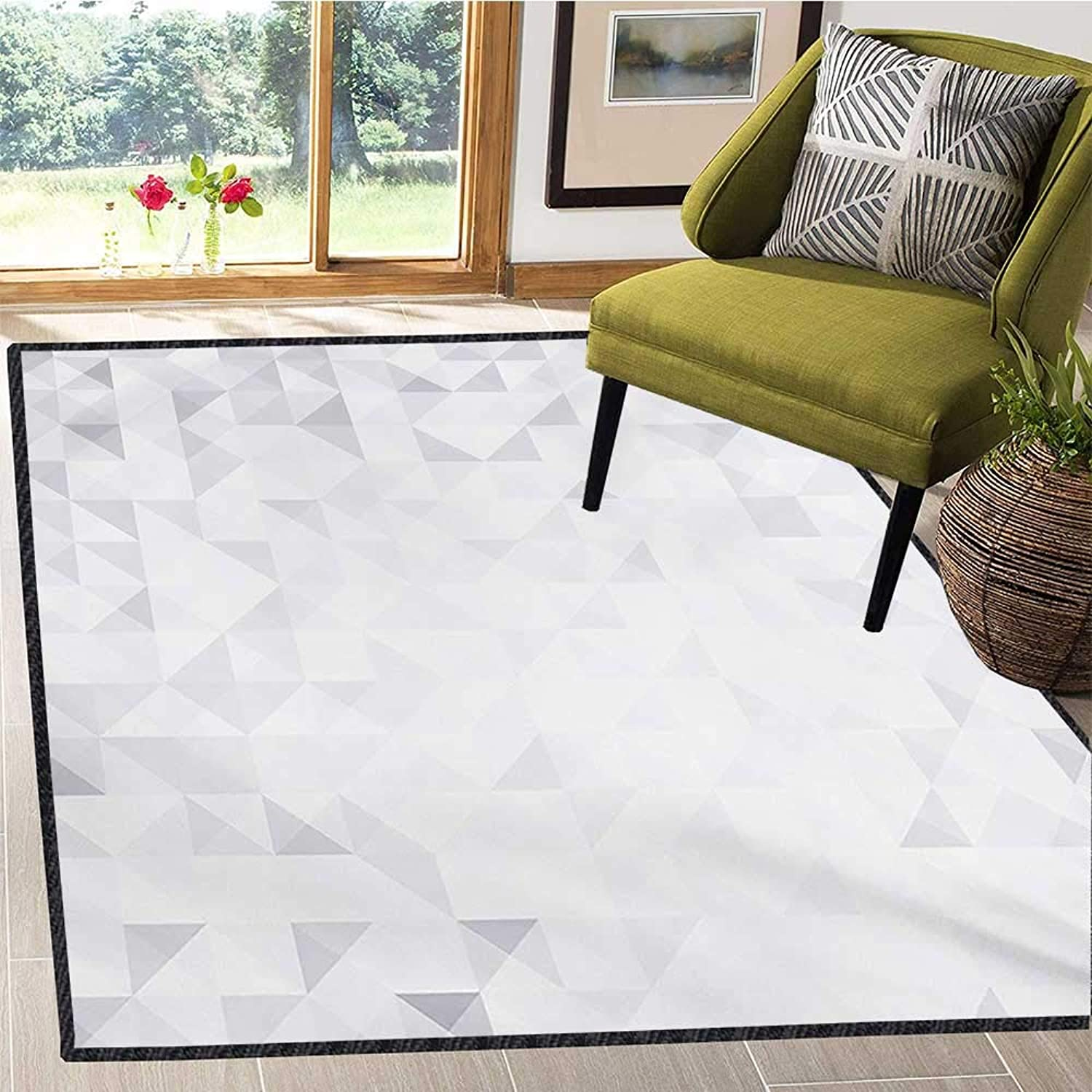 Grey and White, Door Mats for Inside, Geometric Poly Artsy Triangles Abstract Pattern in Many Shades of Grey, Door Mat Indoors Bathroom Mats Non Slip 6x8 Ft Pale Grey White