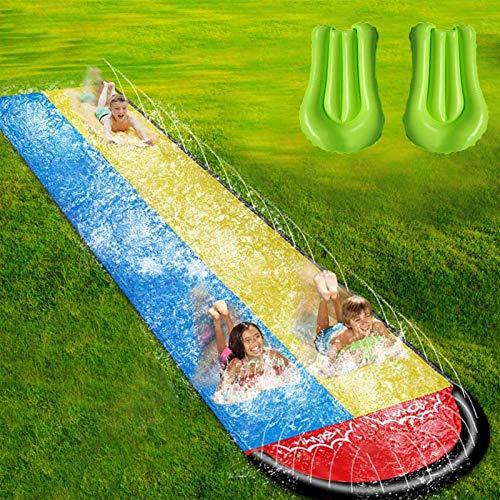 Rasen Wasser Folien für Kinder Erwachsene - Garten-Hinterhof Giant Racing-Bahnen und Spritzenpool, im Freien 15,7ft Wasserrutschen mit Absturzkissen im Freien Wasserspielzeug