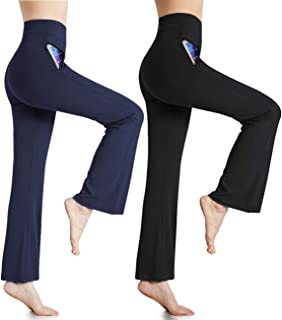 Womens Lounge Pants High Waist Comfy Casual Pajama Pants Palazzo Boot-Cut Wild Leg Long Pants with Pockets