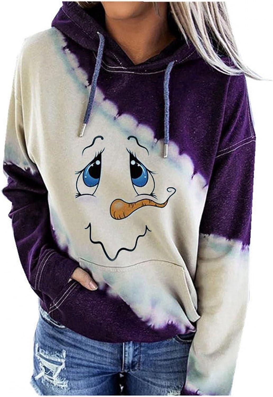 felwors Sweatshirt for Women, Womens Pullover Halloween Long Sleeve Colorblock Hooded Sweatshirts Casual Sweater Tops