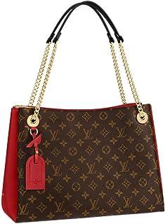 Louis Vuitton Monogram Canvas Grained Calf Leather Surene MM Shoulder Handbag Cerise Article:M43773