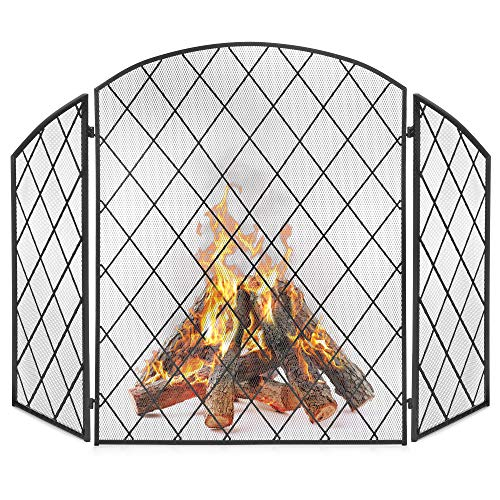 Best Choice Products 3-Panel 50x30in Wrought Iron Decorative Mesh Fireplace Screen Gate Protector, Fire Spark Guard for Indoor & Outdoor w/Folding Side Panels, Black