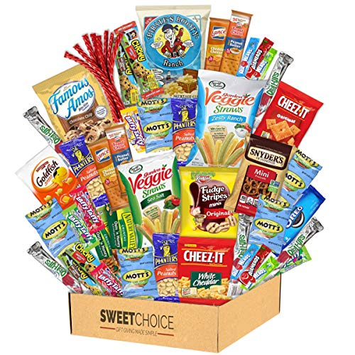 Snack Box Variety Pack (50 Count) Candy Gift Basket - College Student Care Package, Prime Food Arrangement Chips, Cookies, Bars - Ultimate Birthday Treat for Women, Men, Adults, Teens, Kids
