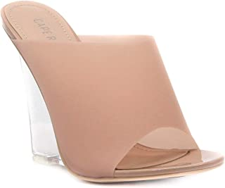 Women's Sexy Transparent Clear PVC Foot Bed Cotton Candy Wedge Heel Mule