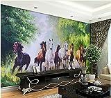 Yosot 3D Tapete Wald Hintergrund Wandmalerei Acht Pferde Leben 3D Tapete Home Decoration-140cmx100cm