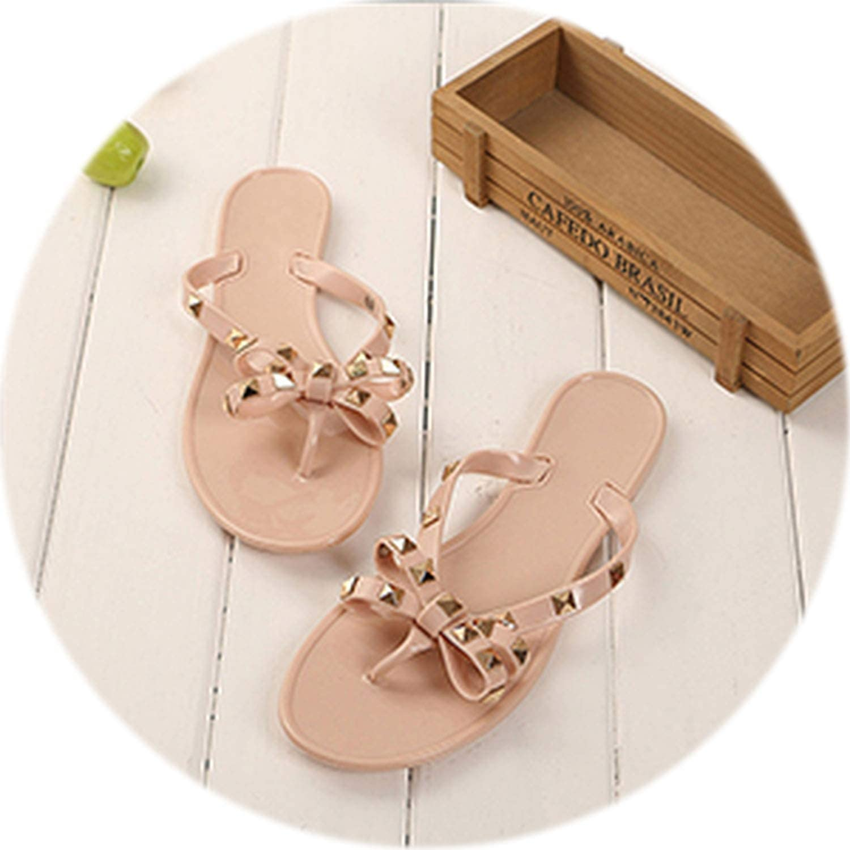 Peony red 2018 New Women Flip Flops Beach Sandals Fashion gold Rivet Bowknot Slippers Summer Women Flats shoes Streetwear Woman Black shoes
