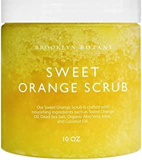 Brooklyn Botany 100% Natural Sweet Orange Body Scrub and Hand Scrub - Exfoliates, Moisturizes, and Nourishes - Cleans Pores for Smoother & Softer Skin - Cellulite Removal - 10 oz