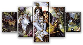 HAFZY Canvas Print Wall Art 5 Panel Paintings Hd Shiva Ganesha Lord Krishna Pictures Home Decor Poster Large Decorative Painting Living Room Bedroom Framed 40