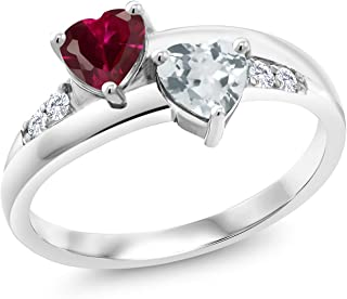 Gem Stone King 925 Sterling Silver Red Created Ruby and Sky Blue Aquamarine and Lab Grown Diamond Women Engagement Ring (...