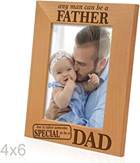 Kate Posh - Any man can be a FATHER, but it takes someone SPECIAL to be a DAD - Engraved Natural Wood Picture Frame, Father of the Groom, Father of the Bride (4x6 Vertical)