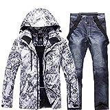 Aitry Combinaisons de Ski pour Hommes, épaisses Combinaisons de Neige + Pantalons, vêtements Coupe-Vent imperméables pour Le Snowboard, Sports d'hiver en Plein air, Chauds