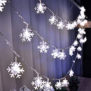 HuTools Christmas Snowflake Led Lights 16.5ft 50 LED Battery-Operated Fairy String Lights Snowflake Decorations for Home, Church, Holiday, Wedding, Birthday Party(Snowflakes White)