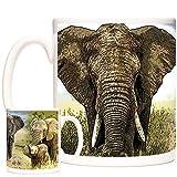 Hermosa taza de regalo de elefante, magníficos elefantes en una taza de cerámica de 11 oz. Apto para lavavajillas y microondas. Gama Animales del Mundo