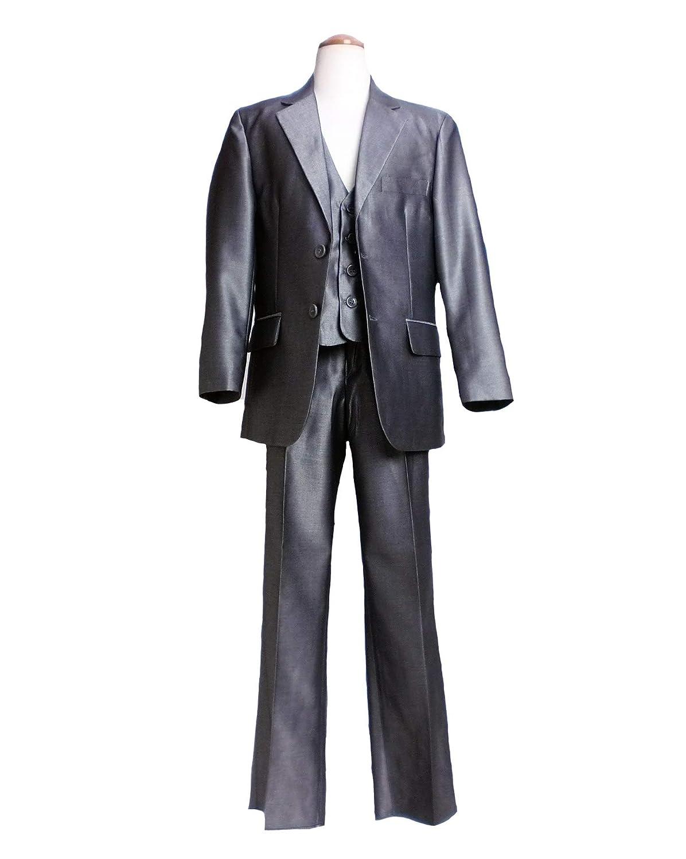 スリーピース(ジャケット ベスト パンツ 3点セット)高級仕立てのウール混素材 男の子 フォーマル (JPBt) シルバーグレー