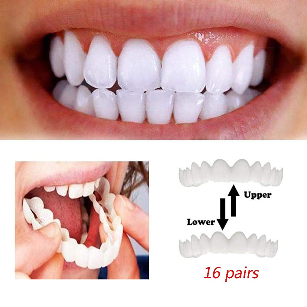 移動する最初入場料16組のベニヤの歯の入れ歯の即刻の微笑の慰めの適合の屈曲の化粧品の訂正の義歯1つのサイズは人および女性のためにほとんど適合します(下+上)
