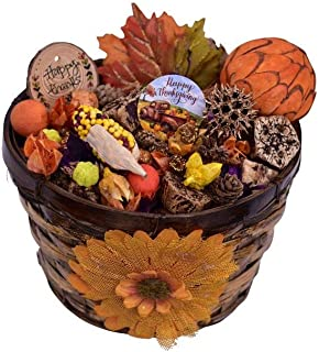 Jacqver Autumn Spice Pumpkin Potpourri Basket- Ready to Display in a Beautiful Basket. Made in The USA. Mother-Daughter Ha...