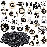 G.C 130Pcs Women Makeup Shoe Charms with Button Accessories Wristband Bracelet Decoration Enamel Charm Pendants for DIY Jewelry Making