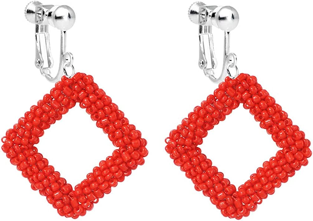 Beaded Drop Earrings for Women Boho Seed Beaded Square Clip on Earring for Non Pierced Geometric Cluster Beaded