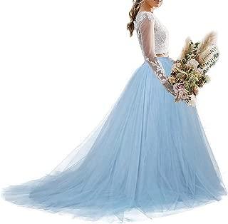 Women Wedding Long Maxi Tulle Skirt Floor Length with Detachable Train Bridal Overskirt