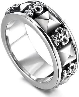INBLUE Men's Stainless Steel Ring Band Silver Tone Black Skull Pyramid
