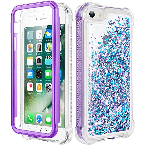 Caka iPhone 5 5S Case, iPhone SE (2016) Glitter Full Body Case with Built in Screen Protector Bling Sparkle Floating Liquid Girls Girly Women Cute Protective Case for iPhone 5 5S SE (Blue Purple)