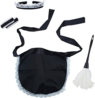 Lux Accessories Halloween Girls Fun Black White Naughty Cleaning Lady Cosplay Costume Dressup Set