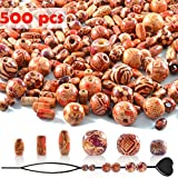 SOSMAR 500pcs Natural Wood Beads in 6 Sizes und Shapes, Painted Wooden...