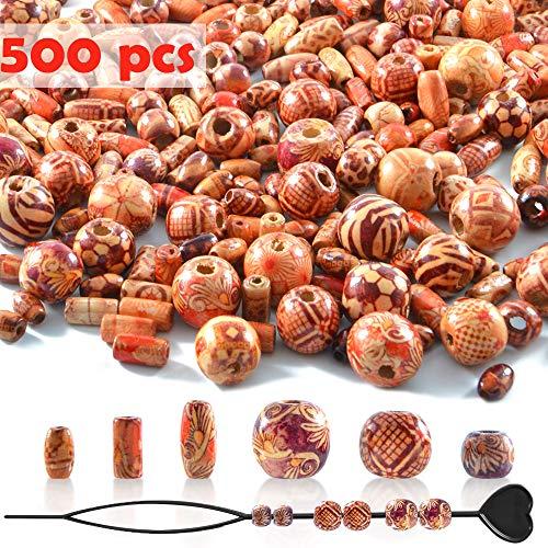 500 Stück Holzperlen mit 6 Größen, Gemischte Muster & Verschiednene Form Holz Perlen Kugeln für basteln auffädeln DIY Schmuck Handwerk