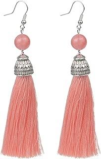 Vintage Fringe Tassel Earrings Luxury White Howlite Long Earring Dangle Natural Stone Drop Earrings Bohemian Boho for Women