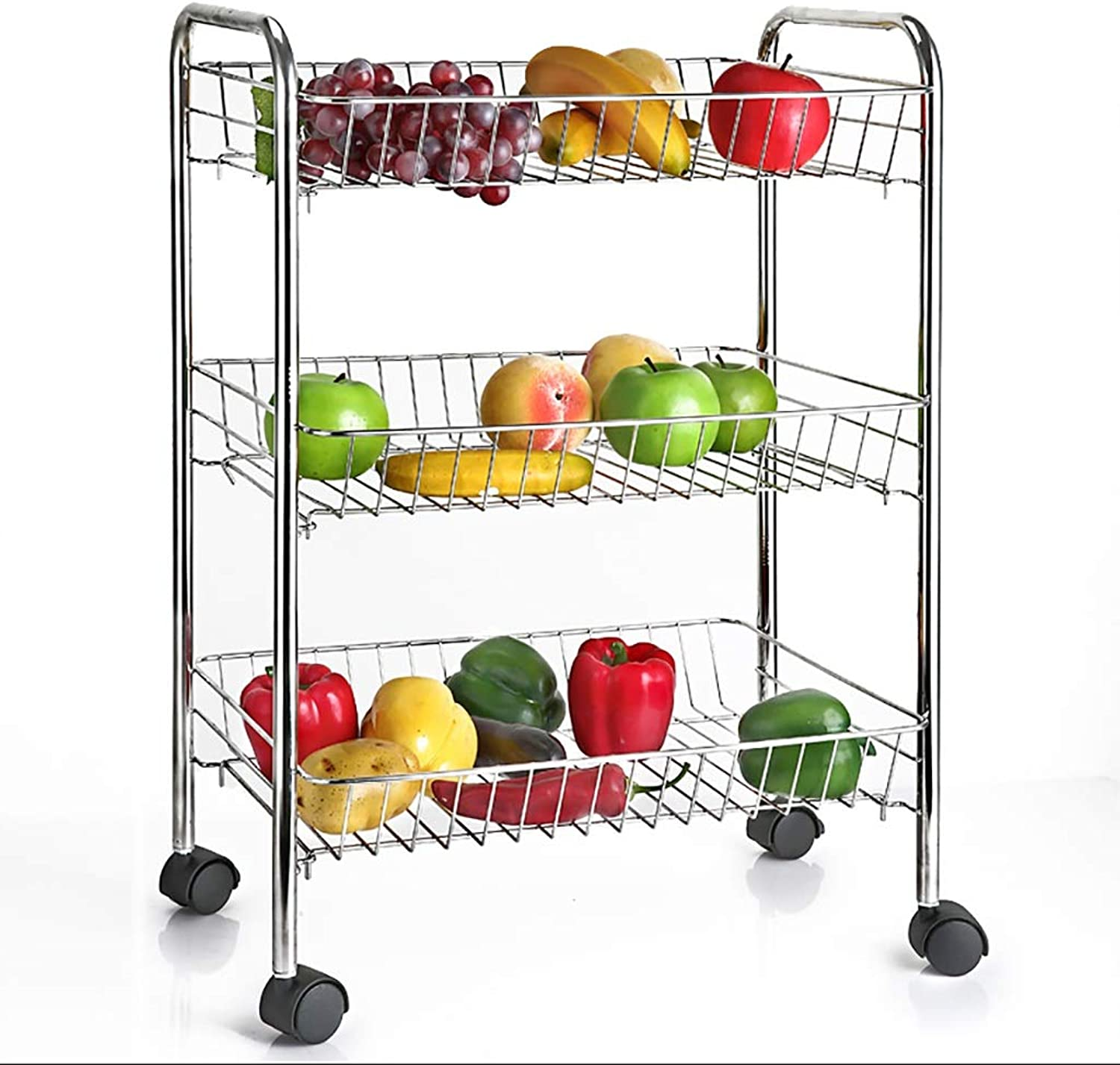 3 Tier Kitchen Storage Trolley Cart with Wheels,Stainless Steel Fruit Vegetable Rack for Bathroom and Kitchen Organizing (Size   43  28.5  67cm)
