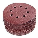 ExcLent 50Pcs 125Mm 8 Holes Hook Loop Sanding Discs 40/60/80/100/120 Grit Sander Pad Set