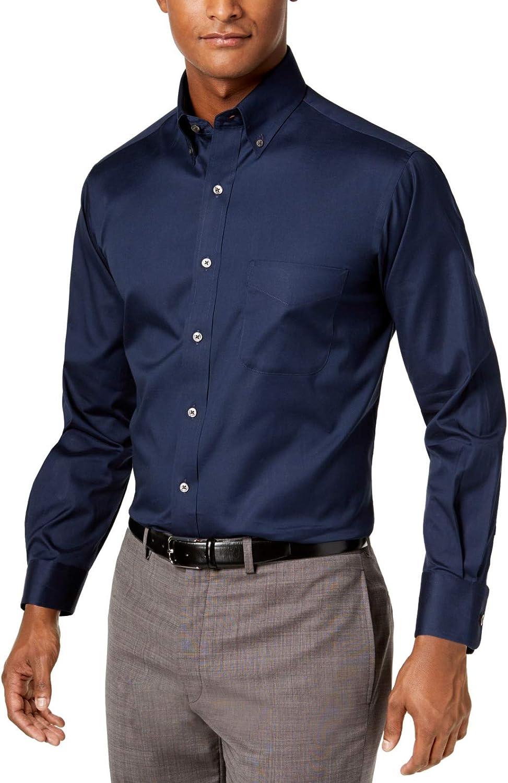Club Room Mens Dress Shirt Stretch Non-Wrinkle Regular Blue 19